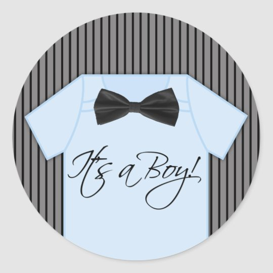 Little Man Baby Shower Classic Round Sticker