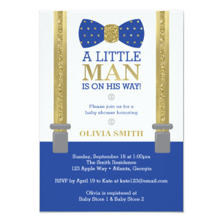 Little Man Baby Shower Invitation, Blue, Faux Gold Card