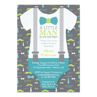 Little Man Baby Shower Invitation, Teal, Green Card