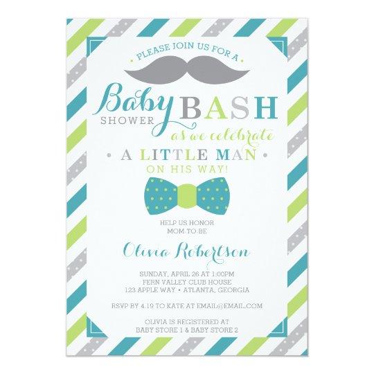 Little Man Baby Shower Invitation, Teal, Green Card