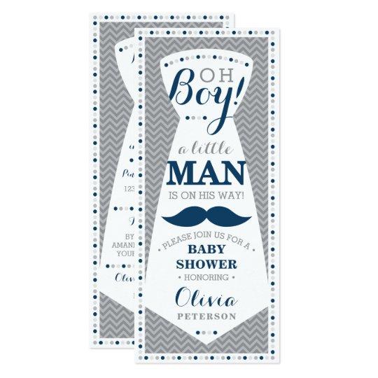 Little Man Baby Shower Invitation, Tie, Navy, Grey