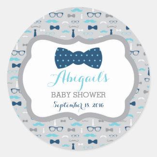 Little Man Baby Shower Sticker, Baby Blue, Navy Classic Round Sticker