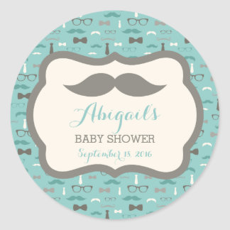 Little Man Baby Shower Sticker, Teal, Ivory, Tan Round Sticker