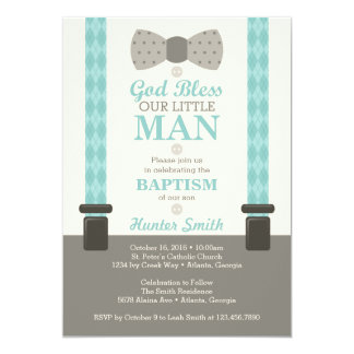 Little Man Baptism Invitation, Teal, Ivory, Tan Card