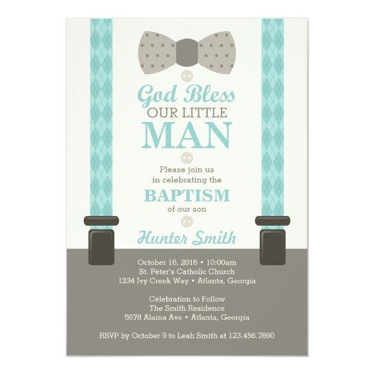 Little Man Baptism Invitation, Teal, Ivory, Tan Card