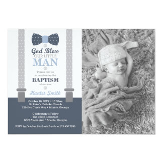 Little Man Baptism Photo Invitation, Blue, Gray Card