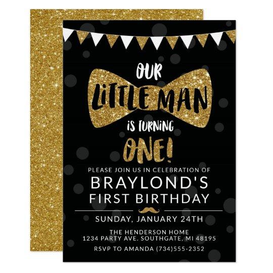 Little Man Birthday Invitation, Black & Gold Card