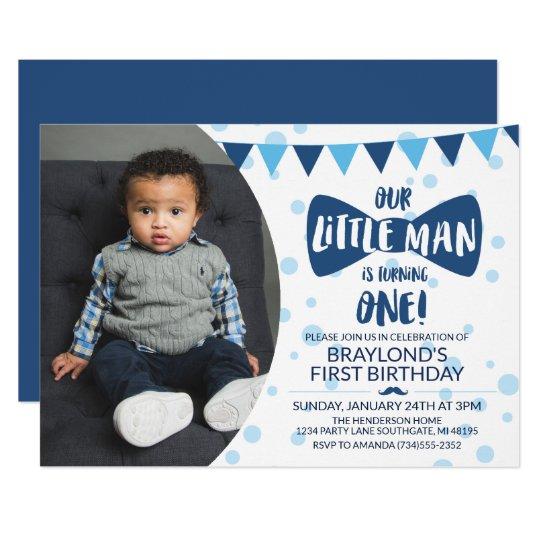 Little Man Blue Bow Tie Photo Invitation