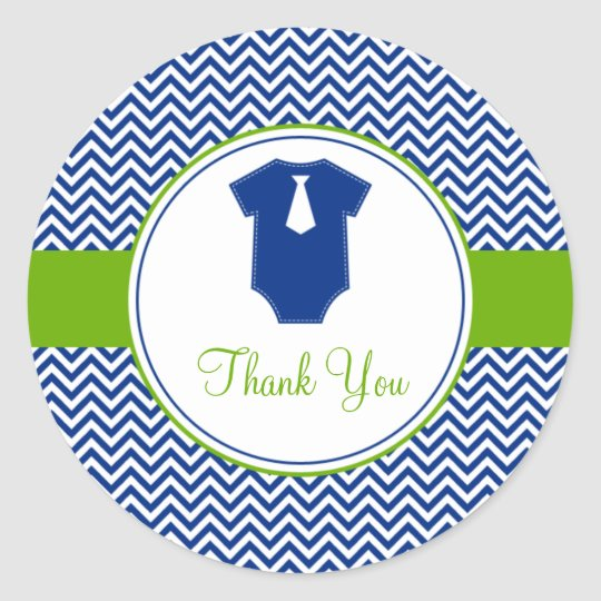 Little Man Chevron Blue Green Baby Shower Classic