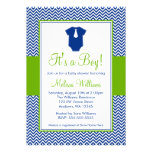 Little Man Chevron Blue Green Baby Shower Personalised Invite