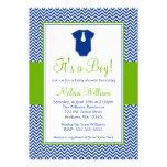 Little Man Chevron Blue Green Baby Shower Personalised Invite