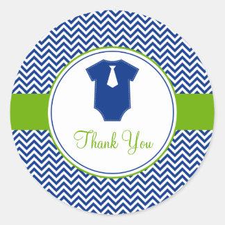 Little Man Chevron Blue Green Baby Shower Round Stickers