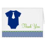 Little Man Chevron Blue Green Thank You Note Card