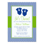 Little Man Chevron Blue Green Twins Baby Shower Personalized Invitations