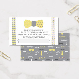 Little Man Diaper Raffle Ticket, Yellow, Gray Business Card