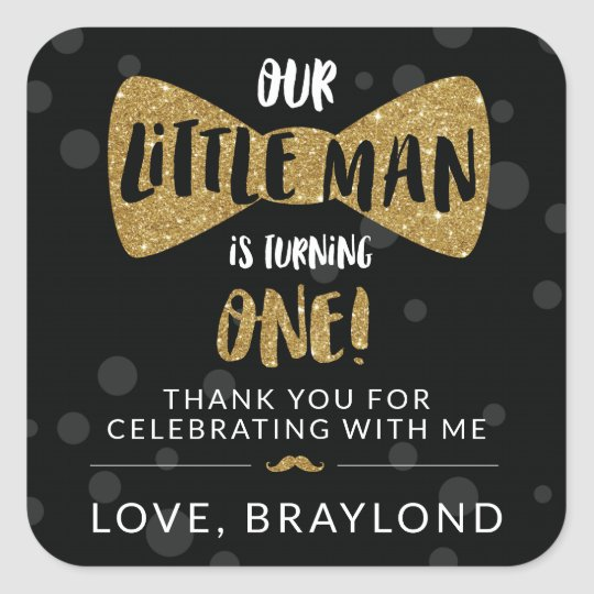Little Man First Birthday Black and Gold Stickers