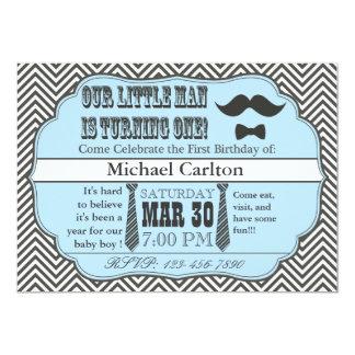 "Little Man First Birthday Invitations 5"" X 7"" Invitation Card"