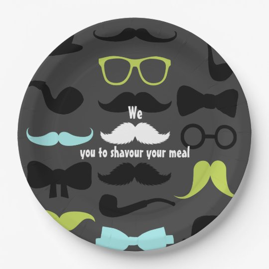 Little Man Hipster Moustache Birthday Party Paper Plate