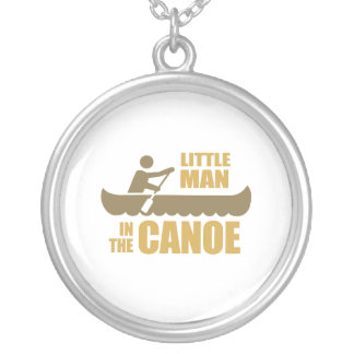 Little man in the canoe round pendant necklace