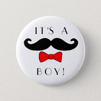 Little Man It's a Boy Mustache and Red Bowtie 6 Cm Round Badge