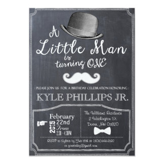 Little Man Lil Man 1st First Birthday Invitation