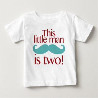 Little Man Moustache 2nd Birthday Shirt Red & Aqua