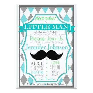 Little Man Moustache Baby Shower Invitations
