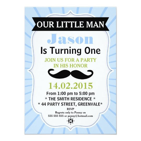 Little Man Moustache Birthday Invitation