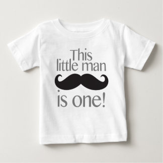 Little Man Moustache Birthday Shirt Grey & Black