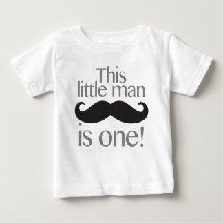 Little Man Moustache Birthday Shirt Grey & Black