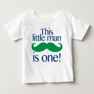 Little Man Moustache Birthday Shirt Navy & Green