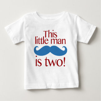Little Man Moustache Birthday Shirt Red & Blue
