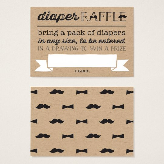 Little Man Moustache Cute Diaper Raffle Ticket