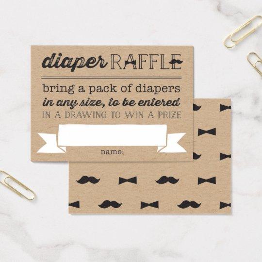 Little Man Moustache Cute Diaper Raffle Ticket