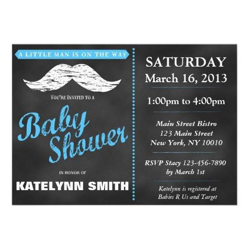 Little Man Mustache Baby Shower Invite