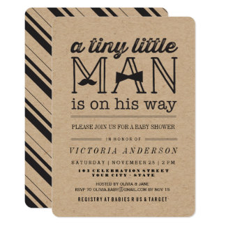 Little Man Mustache Bow Tie Boy Baby Shower Invite