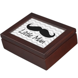 Little Man Mustache Chevron Cute Boys Memory Box