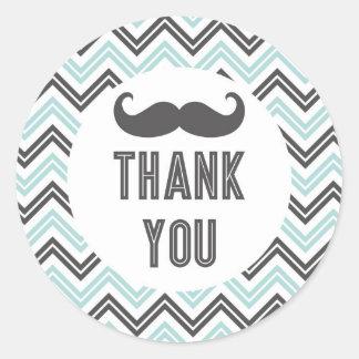 Little Man Mustache Chevron Thank You Sticker