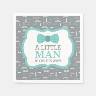 Little Man Napkin, Turquoise and Gray Disposable Napkins