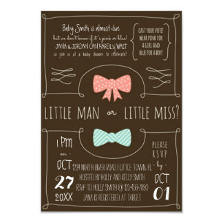 Little Man or Little Miss? 9 Cm X 13 Cm Invitation Card