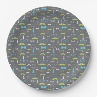 Little Man Paper Plate, Teal, Lime, Gray Paper Plate