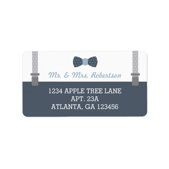 Little Man Return Address Label, Blue and Grey