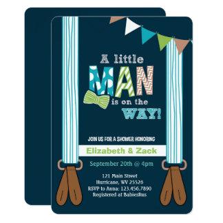 Little Man Suspenders Baby Shower Invitation