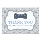 Little Man Thank You Card, Bow Tie, Blue, Grey Card