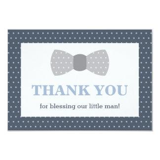 Little Man Thank You Card, Navy Blue, Gray Card