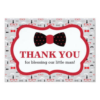 Little Man Thank You Card, Red, Black, Bow Tie Card