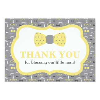 Little Man Thank You Card, Yellow and Gray Card