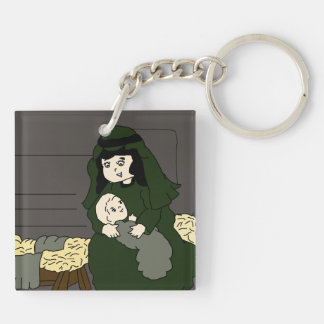 Little Mary and Baby Jesus in Green Double-Sided Square Acrylic Keychain