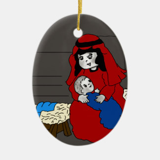 Little Mary and Baby Jesus in Red Christmas Ornament