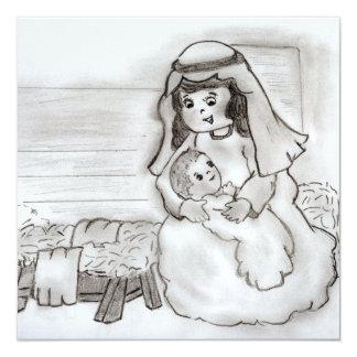 Little Mary and Jesus 13 Cm X 13 Cm Square Invitation Card